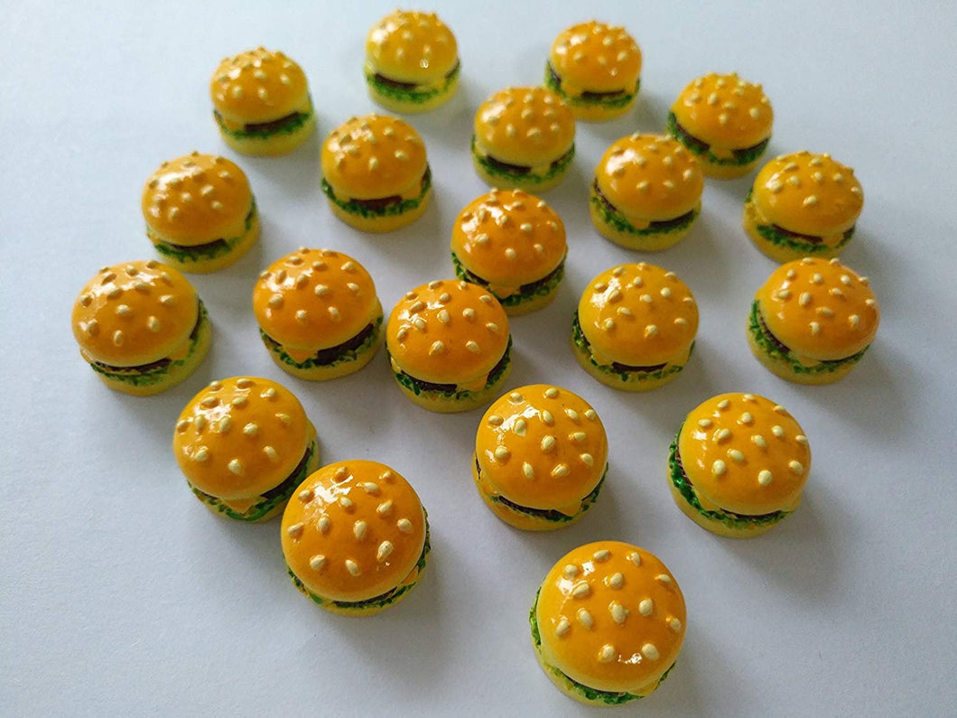 Hamburger Cabochons Resin Food Cabochons Resin Cabochons Realistic Food Slime Charms Flat Backs BULK 30 pieces