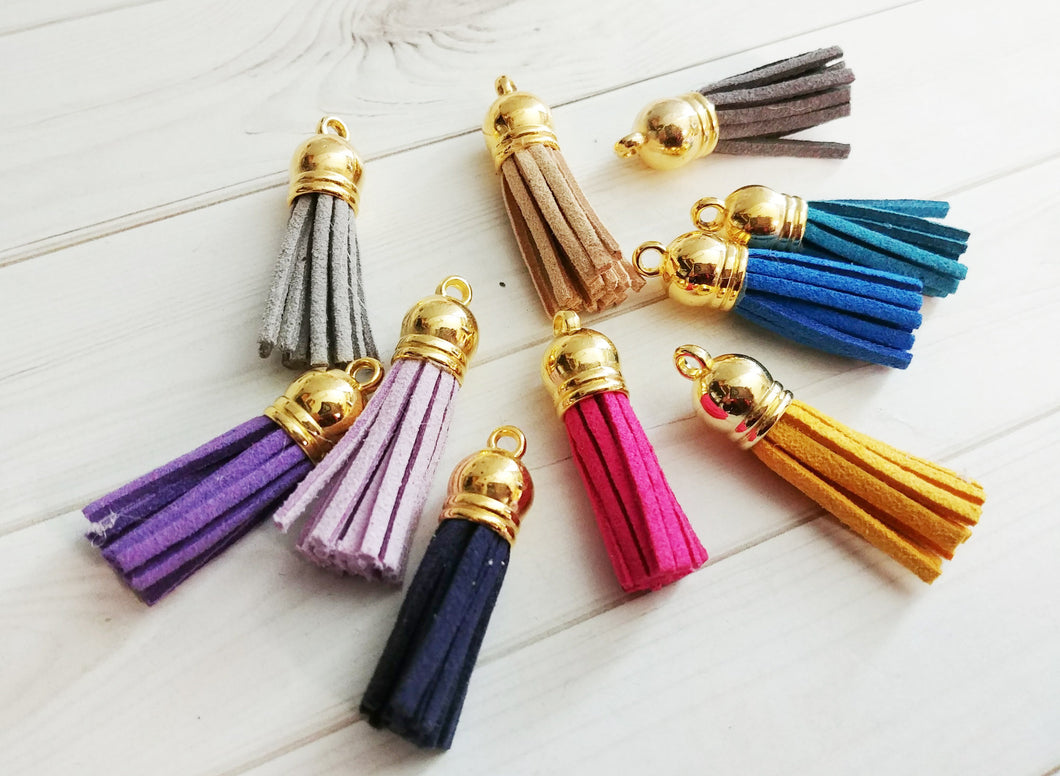 Tassel Charms Set Gold Top Tassels Faux Suede Assorted Pendants Lot 1.5