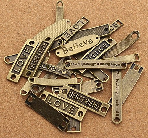 Quote Connectors Word Connectors Word Bands Quote Pendants 20pcs Antiqued Bronze Assorted Quotes Word Pendants