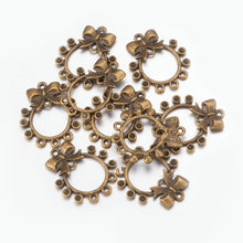 Load image into Gallery viewer, Earring Findings Chandelier Earring Components Earring Pendants Bow Pendants Antiqued Bronze Pendants Bow Chandelier Charms 10pcs
