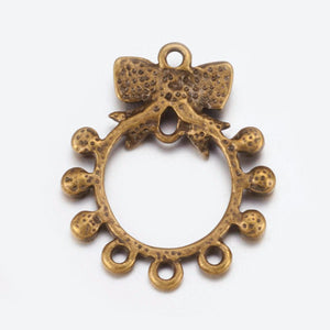 Earring Findings Chandelier Earring Components Earring Pendants Bow Pendants Antiqued Bronze Pendants Bow Chandelier Charms 10pcs