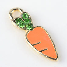 Load image into Gallery viewer, Enamel Carrot Charm Gold Enamel Charm Easter Charm Vegetable Charm Gardening Charm 17.5mm