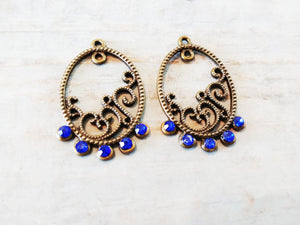 Chandelier Charms Antiqued Bronze Chandelier Findings Chandelier Earring Charms Jeweled Chandelier Blue Bronze Charms 2pcs