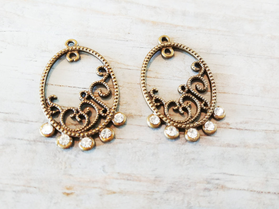 Chandelier Charms Antiqued Bronze Chandelier Findings Chandelier Earring Charms Jeweled Chandelier Clear Bronze Charms 2pcs