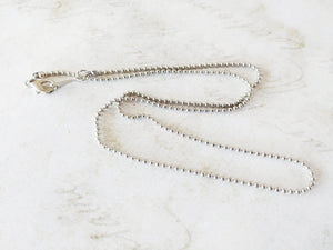Ball Chain Necklace 18K White Gold Plated Chain Antiqued Silver Beaded Chain Bead Necklace Wholesale Chain 16 Inch Chain