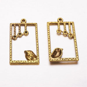 Gold Bird Pendants Antiqued Gold Bird Charms Chandelier Charms Bird in a Window Jewelry Supplies Set 10pcs