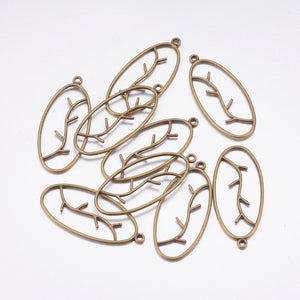 Oval Branch Pendants Antiqued Bronze Vine Charms Vine Pendants Oval Pendants Connector Pendants Bronze Charms Set 10pcs 42mm
