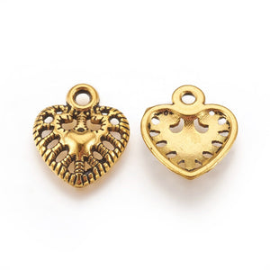 Gold Heart Charms Antiqued Gold Heart Pendants Gold Charms BULK Charms Filigree Heart Charms Set 10pcs