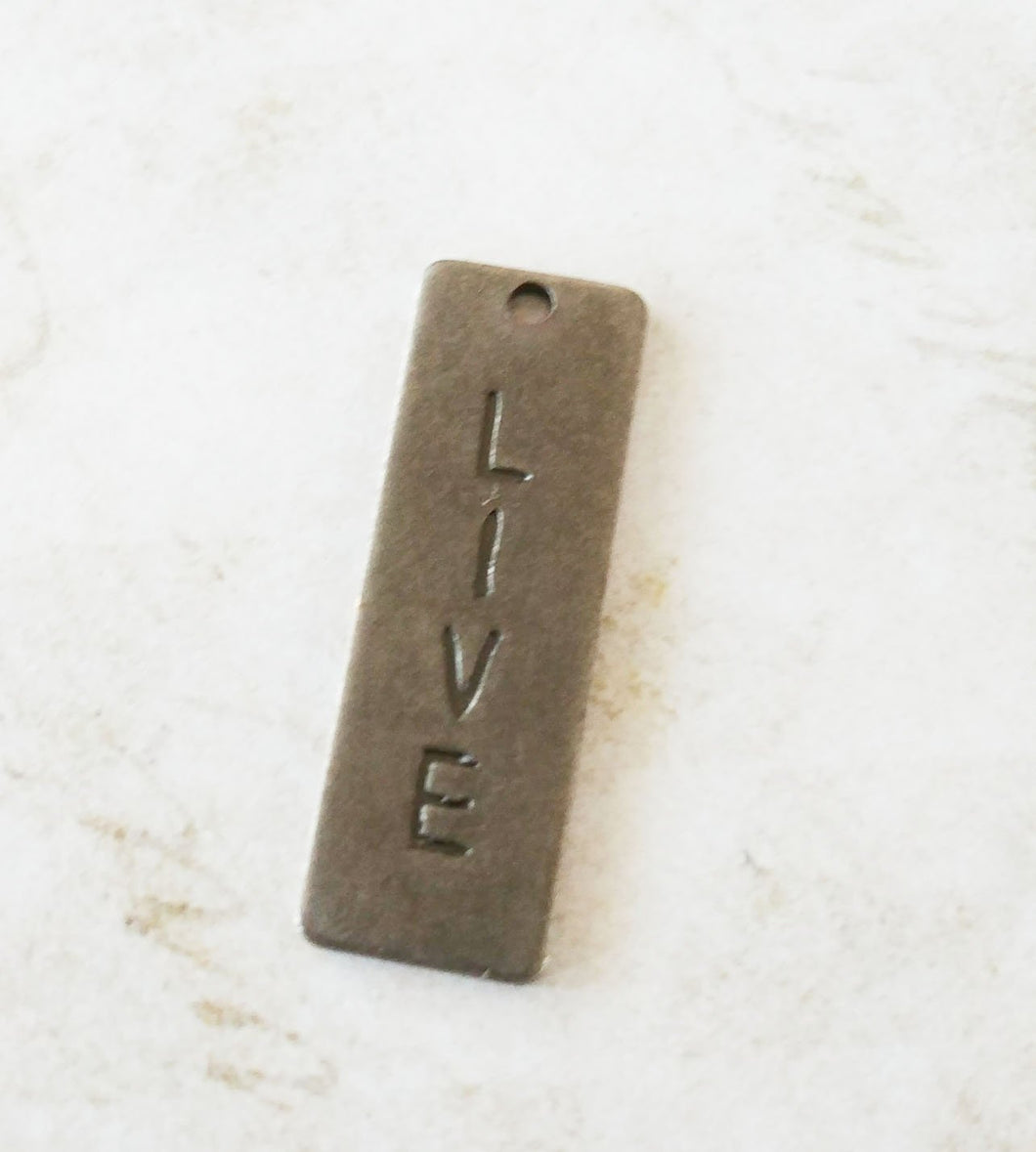 Word Charm Live Charm Silver Word Charm Inspirational Charm Silver Pendant Rectangle Word Charm Live Pendant