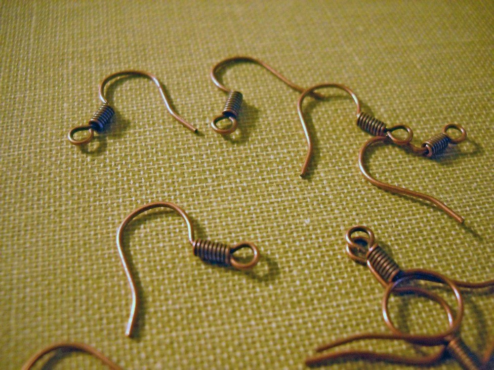 Copper Earring Wires Ear Wires Antiqued Copper Fish Hook Ear Wires Earring Findings BULK Ear Wires 100 pieces