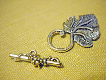 Load image into Gallery viewer, Silver Clasps Silver Toggle Clasps T Clasps Toggle Clasps Grape Leaf Clasps Large Clasps Ornate Design Bar Clasp Antiqued Silver 4 Sets