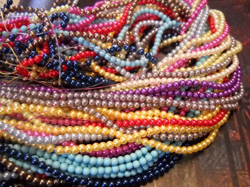 Glass Pearls Beads 4mm Beads Bulk Beads Wholesale Beads Assorted Beads 4mm Glass Beads 10 Strands 2160 pieces