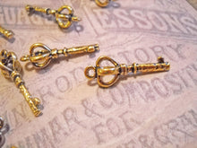 Load image into Gallery viewer, Gold Keys Gold Charms Key Charms Skeleton Keys Gold Key Charms Wholesale Keys Key Pendants Antique Gold Keys 10 pieces