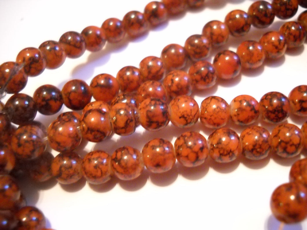 Glass Beads Burnt Orange Beads Marbled Glass Beads Speckled Beads 6mm Glass Beads 6mm Beads BULK Beads Wholesale Beads 140 pieces