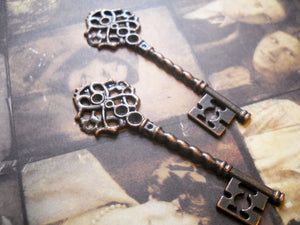 "Skeleton Keys Antiqued Copper Keys Steampunk Key Pendants Key Charms Skeleton Key Charms 2.67"" 68mm 2 pieces"