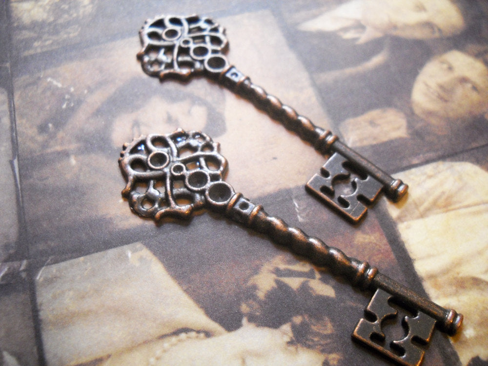Skeleton Keys Antiqued Copper Keys Steampunk Key Pendants Key Charms Skeleton Key Charms 2.67