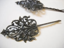 Load image into Gallery viewer, Bobby Pin Blanks Bronze Bobby Pin Hair Pin Blanks Antiqued Bronze Ornate Hair Accessory Blanks 2 pieces 90mm Large Teardrip Filigree Pad