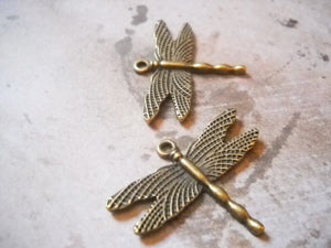 Dragonfly Charms Insect Charms Dragonfly Pendant Bronze Dragonfly Charms Antiqued Dragonfly Steampunk Charms 10pcs