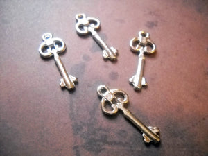 Bulk Skeleton Keys Silver Key Charms Steampunk Keys Silver Charms Wholesale Keys Bulk Charms 100 pieces