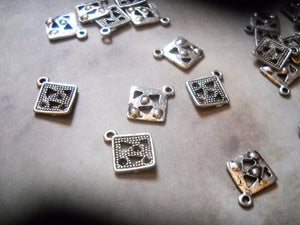 Geometric Charms Square Charms Antiqued Silver Square Charms Shape Charms Square Pendants Drops 10 pieces
