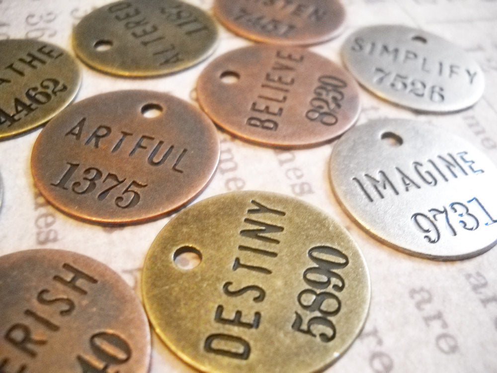 Assorted Charms Word Charms Word Pendants Inspirational Charms Miners Tags Assorted Metals Copper Silver Bronze Philosophy Tags-12pcs PRE