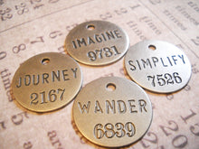 Load image into Gallery viewer, Assorted Charms Word Charms Word Pendants Inspirational Charms Miners Tags Assorted Metals Copper Silver Bronze Philosophy Tags-12pcs PRE