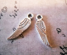 Load image into Gallery viewer, Angel Wings Angel Wing Charms Silver Angel Wings Silver Wing Charms Miniature Wings Miniature Charms BULK Charms Wholesale Charms 17mm 100pc