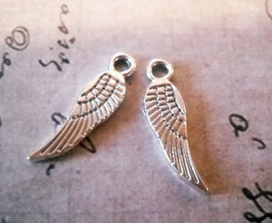 Angel Wings Angel Wing Charms Silver Angel Wings Silver Wing Charms Miniature Wings Miniature Charms BULK Charms Wholesale Charms 17mm 100pc