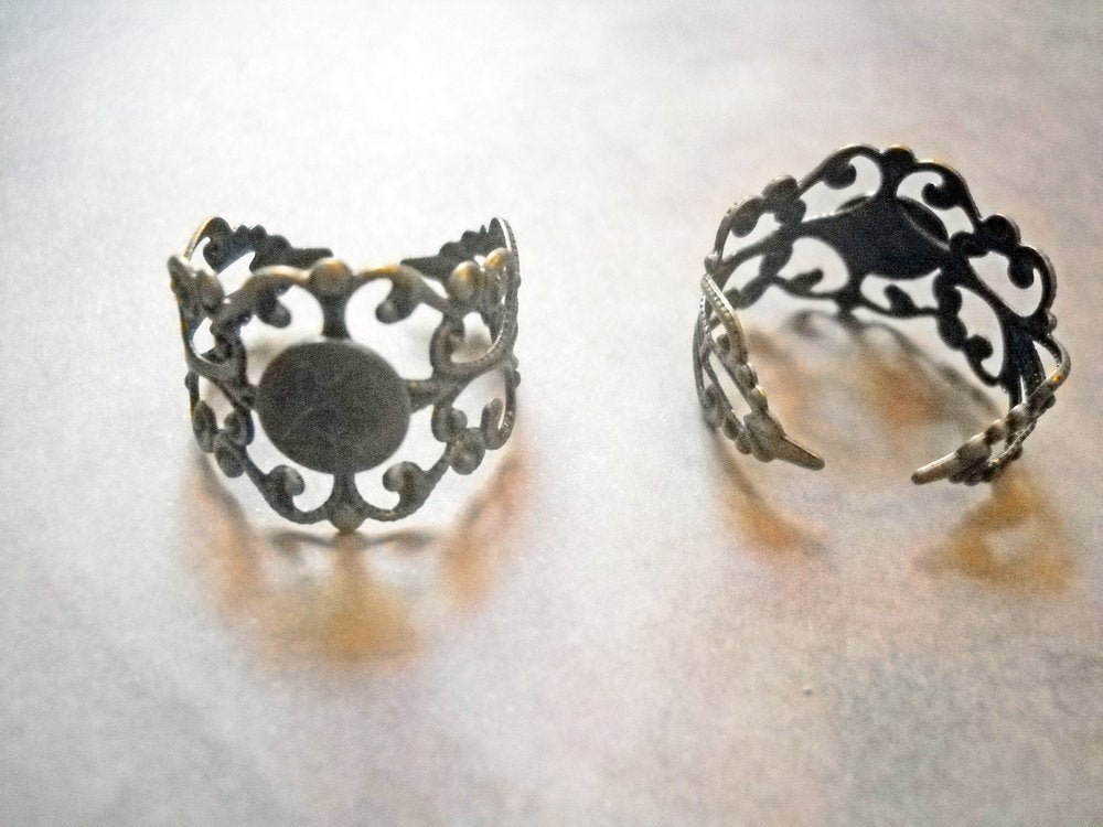 Ring Blanks Blank Rings Adjustable Rings Filigree Rings Open Back Rings Ring Settings Bronze Rings Bronze Ring Blanks 2 pieces