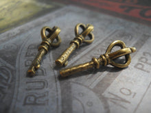 Load image into Gallery viewer, Bulk Skeleton Key Charms Antiqued Bronze Crown Top Scepter Pendants Steampunk Supplies Sold per pkg of 50
