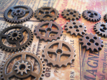 Load image into Gallery viewer, Clock Gears Watch Gears Steampunk Gears Steampunk Charms Assorted Gears Assorted Charms Bulk Gears Hardware 12 pieces