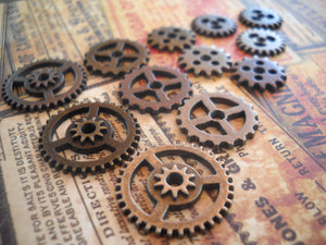 Clock Gears Watch Gears Gear Pendants Charms Clock Parts Watch Parts Assorted Charms Silver Bronze Copper-144pcs PREORDER
