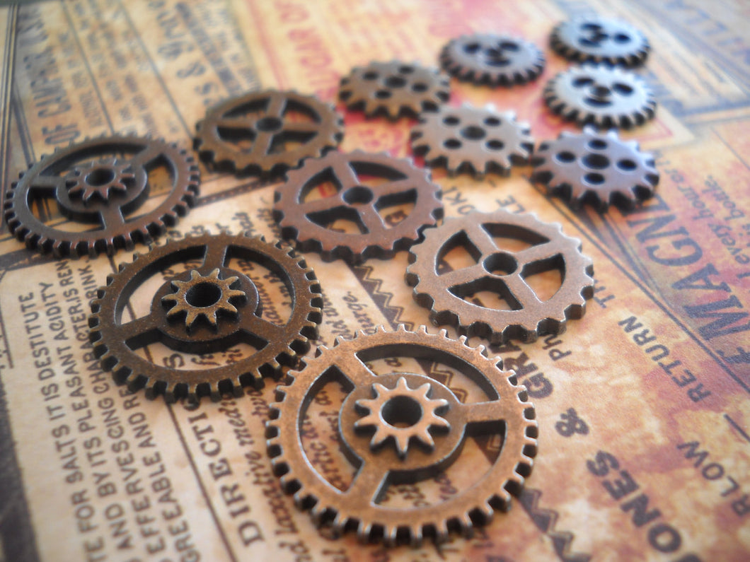 Clock Gears Watch Gears Steampunk Gears Steampunk Charms Assorted Gears Assorted Charms Bulk Gears Hardware 12 pieces