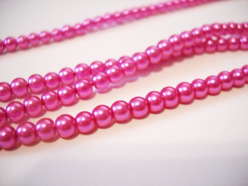 Pink Beads Pink Pearl Pink Glass Pearls 4mm Beads 4mm Pearls Pink Glass Beads BULK Beads Wholesale Beads DOUBLE STRAND 32