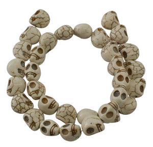 Skull Beads Howlite Beads White Ivory Skull Beads 12x10mm 10 pieces Wholesale Beads Large Beads 12mm Beads