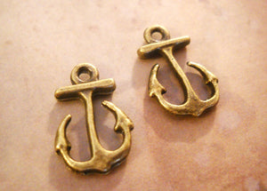 Anchor Charms Bronze Anchor Charms Anchor Pendants Ocean Charms Sea Charms Bronze Charms Nautical Charms 10 pieces