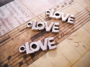 Silver Love Charms Love Word Charms Antiqued Silver Charms Love Pendants Silver Charms Set 10pcs