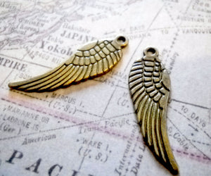 Angel Wing Charms Wing Pendants Antiqued Bronze Wing Charms Bronze Charms 1 inch Wings Double Sided 30mm 10 pieces