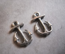 Load image into Gallery viewer, Anchor Charms Silver Anchor Charms Boating Charms Sailing Charms Nautical Charms Anchor Pendants Mooring Charms Kedge Charms 10 pieces