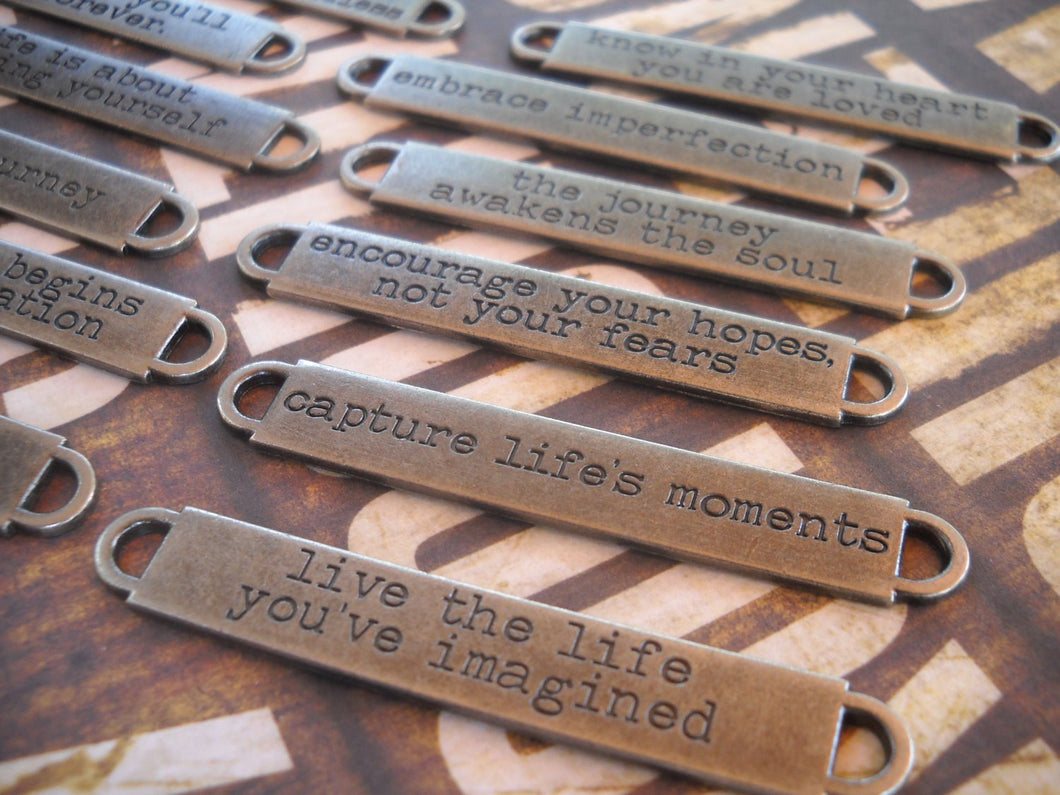 Quote Connectors Word Connectors Word Bands Quote Pendants 12pcs Antiqued Silver Assorted Quotes Word Pendants