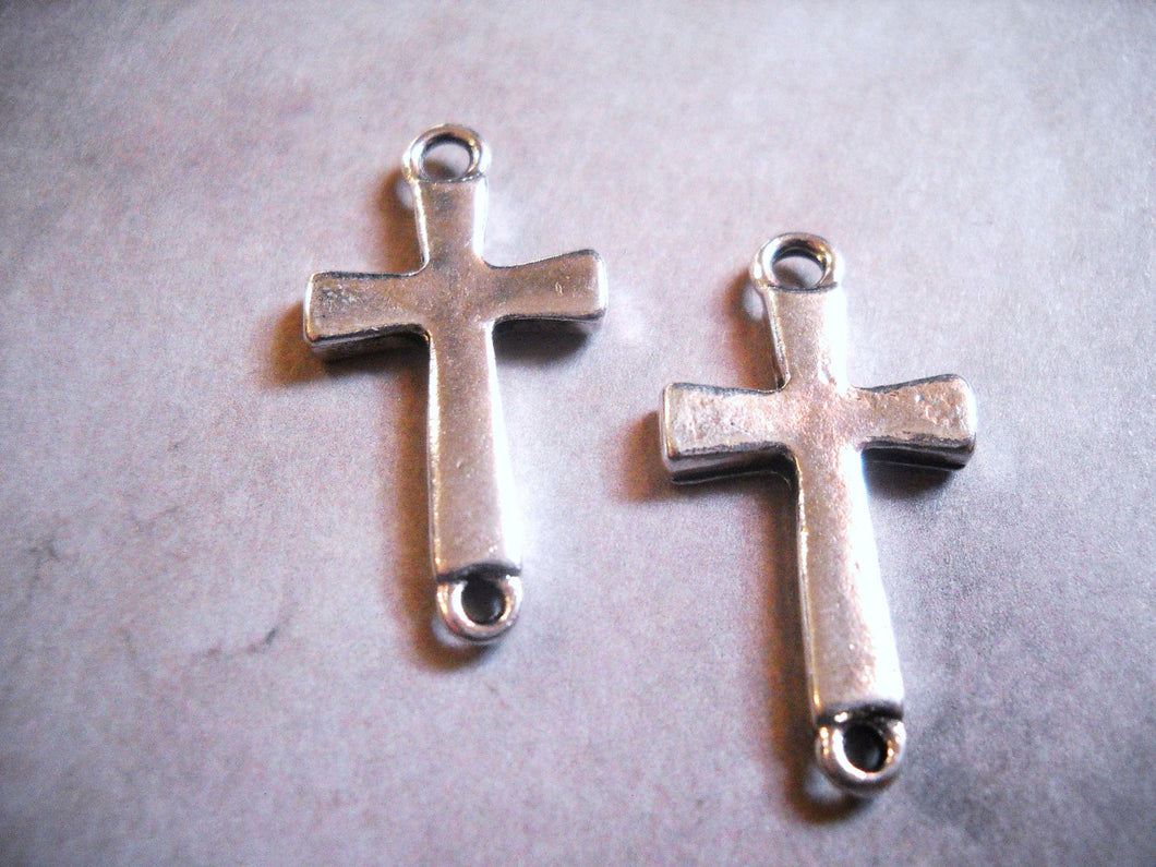 Cross Pendants Silver Cross Charms Cross Connectors Pendant Connectors Cross Links Sideways Cross Charms Christian Cross 4 pieces