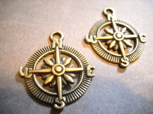 Compass Charms Compass Pendants Bronze Compass Charm Captain of My Soul Nautical Charms Sea Charms Bronze Charms Antiqued Charms 10 pieces