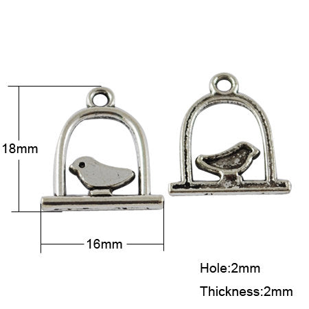 Bird Charms Bird Pendants Bird on a Swing Charms Bulk Charms Wholesale Charms Silver Charms Antiqued Silver Caged Bird-100pcs