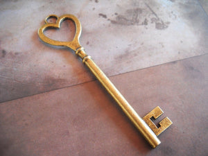 Big Key Pendant Heart Key Antiqued Bronze Heart Top Key Skeleton Key Steampunk Key To My Heart 84mm