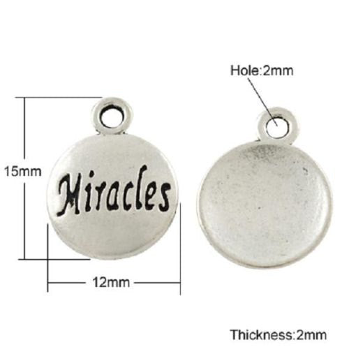 Miracle Charms Antiqued Silver Word Charms Word Pendants Silver Miracle Charms Inspirational Charms Stamped Charms 10pcs