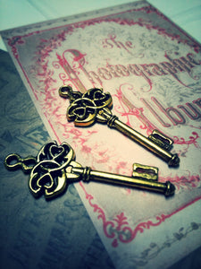 Skeleton Key Pendants Antiqued Gold Skeleton Keys 45mm Steampunk Key Charms 2 pieces Key Pendant Wholesale Skeleton Keys Gold Key Charms