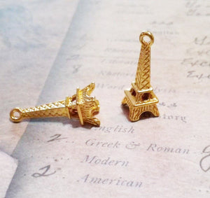 Eiffel Tower Charms Eiffel Tower Pendants Paris Charms France Charms Shiny Gold Charms 24mm 50 pieces 3D Bulk Charms Wholesale Charms