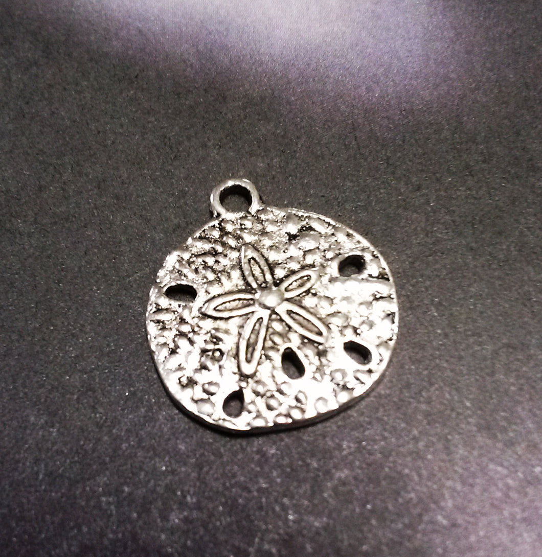 Sand Dollar Charms Sand Dollar Pendants Antiqued Silver Charms Ocean Charms Nautical Charms 10 pieces