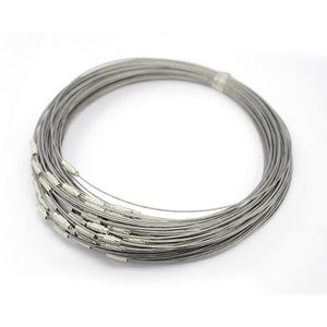 "Neckwires Necklaces Silver 17.5"" Wholesale Chain Neckwires 10 pieces WHOLESALE Silver Neckwire Steel Neck Wires"