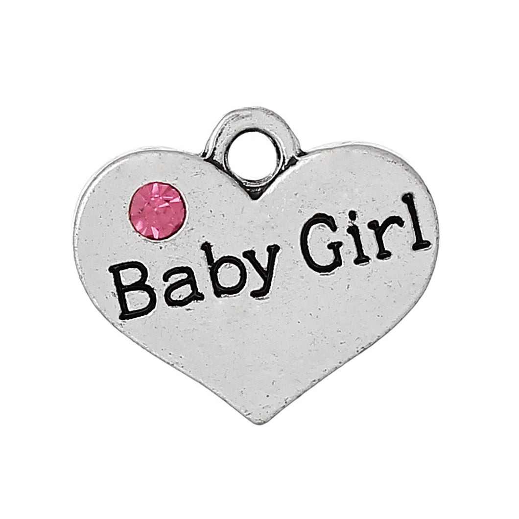 Baby Charms Baby Pendants Baby Girl Charms Silver Heart Charms Antiqued Silver Baby Shower Charms Rhinestone Charms 2pcs